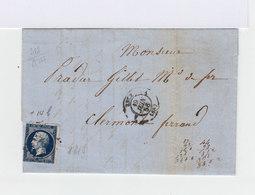 Sur Lettre Avec Correspondance Napoléon III Bleu Noir Type I. CAD Lyon 1856. (648) - Marcophilie (Lettres)