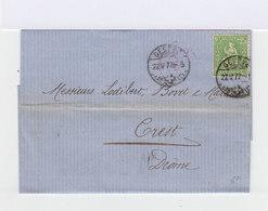 Sur Lettre Helvetia Assise 25 C Vert Jaune. CAD Genève 1877. (649) - Marcophilie