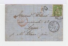 Sur Lettre Helvetia Assise 40 C Vert . CAD Genève 1864. Cachet PD. (650) - Marcophilie