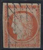 1849 - 1850 Céres N°5a 40c Orange Pale Oblitéré Grille Sans Fin Bel Exemplaire Signé BRUN & Bulher - 1849-1850 Ceres