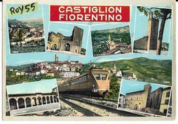 Toscana-arezzo-castiglion Fiorentino Treno Littorina In Transito Veduta Vedutine Castiglion Fiorentino Animata - Italia