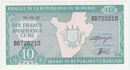 Burundi P 33 D - 10 Francs 5.2.1997 - UNC - Burundi