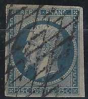 1852 Louis Napoléon N°10c 25c Bleu Obl Grille Sans Fin Signé BRUN - 1852 Louis-Napoleon