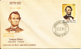 India FDC 15-4-1965 Abraham Lincoln With Cachet - FDC