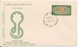 India FDC 24-11-1969 International Union Conservation Of Nature & Natural Resources With Cachet - FDC
