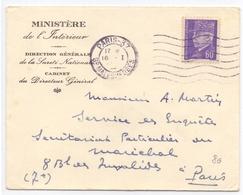 Lettre Du Ministere De L Interieur Pour Le Secretaire Du Marechal Petain Service Des Enquetes Paris 37 - Marcofilie (Brieven)
