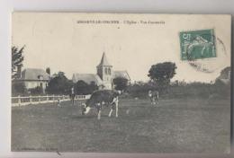 Angerville-l'Orcher (76 - Seine Maritime) - L'église Vue D'ensemble - 1908 - Angerville L' Orcher - Vache Dans Le Champ - Autres Communes