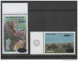 TANZANIA  ,MNH, WILDLIFE OVERPRINTS, PRIMATES, CHIMPANZEES, ZEBRAS, WILDERBEEST, 2v - Chimpanzés