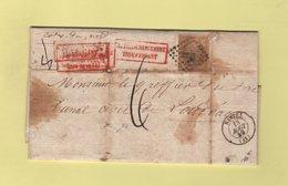 Nantes - Lettre Pesee 8g - Affranchissement Insuffisant - Taxee Au Double Du Manque Soit 6 Decimes - 13 Aout 1859 - 1849-1876: Classic Period