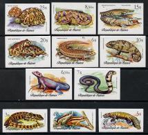 5878 Guinea - Conakry 1977 Reptiles (animals Snakes Frogs Tortoise Crocodile Lizard) Imperf Set Of 11 U/m - Guinea (1958-...)