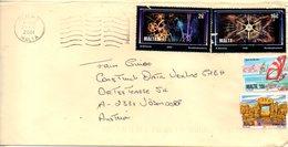 MALTE. N°1106 & 1108 De 2000 Sur Enveloppe Ayant Circulé. Feux D'artifices. - Malta