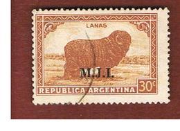 ARGENTINA -  SERVICE    -  1936 MERINO SHEEP  (OVERPRINTED M.J.I.) -    USED ° - Servizio