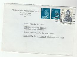 1979 Fomento Del Trabajo Nacional BARCELONA  To UN NY USA United Nations Stamps Spain - 1931-Aujourd'hui: II. République - ....Juan Carlos I