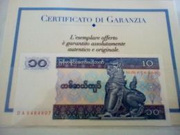BANCONOTA DELLA BIRMANIA - CENTRAL BANK OF MYANMAR - TEN KYATS - - Myanmar