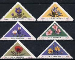 10936 Croatia 1951 Flowers Triangular Perf Set Of 6 Surcharged +5k In Black Unmounted Mint - Croatia
