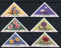10937 Croatia 1951 Flowers Triangular Perf Set Of 6 Surcharged +5k In Red Unmounted Mint - Croatia