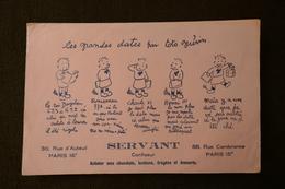 BUVARD Publicité. Les Grandes Dates Histoire De France Par  TOTO  GUERIN.  SERVANT Confiseur  88 Rue Cambronne Paris 15è - Blotters