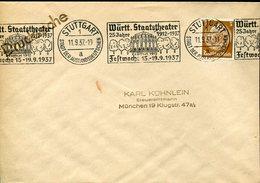 37780 Germany Reich,circuled Cover 1937 Stuttgart Wurtt.staatstheater, 25 Jahre Festwoche 1937 - Briefe U. Dokumente