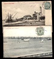 Deux Cartes Postales Alexandrie Et Port-Saïd Affranchies Avec Blanc 5 Cts. Belles Oblitérations. A Saisir! - Frankreich