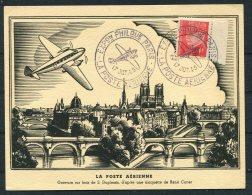 1943 Fance Paris Exposition Philatelie Aviation Airmail, Stamp Exhibition Postcard - Airmail
