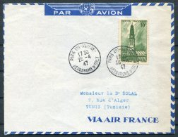 1947 France Paris Airmail Cover. Aerodromme D'Orly Air France - Tunis - Airmail