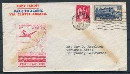 1939 France Airmail First Flight Cover. Marseille - Christie Hotel, Hollywood USA Via Horta. Paris Azores - Airmail
