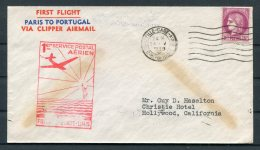 1939 France Airmail First Flight Cover. Marseille - Christie Hotel, Hollywood USA Via Lisboa. Paris Portugal - Airmail