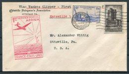 1939 France Airmail First Flight Cover. Marseille - Ottsville USA Via New York. Clipper - Airmail
