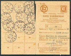 1950 France Carte D'Abonnement Grenoble, Poste Aerienne, Vienne Isere - Airmail