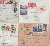 LOT DE 8 LETTRES RECOMMANDEES -AFFRANCHISSEMENTS COMPOSESDE 1903 A 1956 -DEPARTEMENT DU CALVADOS - Marcophilie (Lettres)