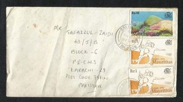 Mauritius Air Mail Postal Used Cover Mauritius To Pakistan Fish Animal Sydney Olympic Sport Game - Maurice (1968-...)