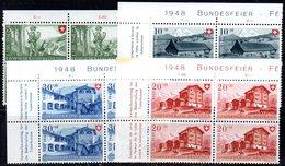 72/1500 - SVIZZERA 1948 , Pro Patria Serie N. 457/460 : Quartina Integra *** MNH - Pro Patria