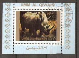 Umm Al Qiwain  Rhinoceros Small Miniatire Sheet  Fine Used - Rhinozerosse