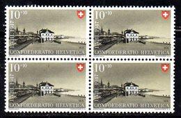 78/1500 - SVIZZERA 1947 ,  N. 438 : Quartina Integra *** MNH - Nuovi