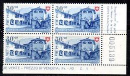 80/1500 - SVIZZERA 1948 ,  N. 460 : Quartina Integra *** MNH - Pro Patria