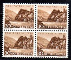 81/1500 - SVIZZERA 1956 ,  N. 579 : Quartina Integra *** MNH - Nuovi