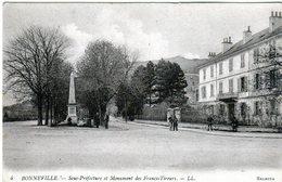 Cpa - Bonneville - Sous-préfecture Et Monument Des Francs-tireurs - - Bonneville