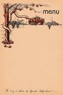"""Menu Vierge Années 1940. - Illustrateur Chaix - Serpent. """"Il N'y A Plus De Fruits Défendus"""" - Menus"""