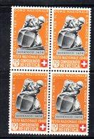 83/1500 - SVIZZERA 1940 , Pro Patria N. 350 : Quartina Integra *** MNH - Pro Patria