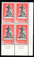 87/1500 - SVIZZERA 1940 , Pro Patria N. 351 : Quartina Integra  *** MNH - Pro Patria