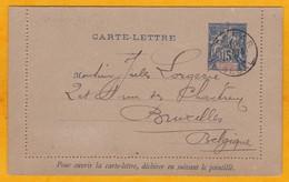 1895 - Entier Carte Lettre 15 C Groupe De Dakar, Sénégal Vers Bruxelles, Belgique - Brieven En Documenten