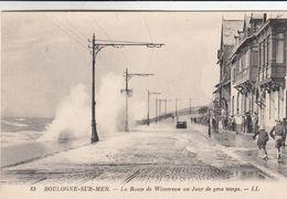 Cp , 62 , BOULOGNE-sur-MER , La Route De Wimereux, Un Jour De Gros Temps - Boulogne Sur Mer