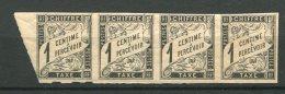 8426  Emissions  Générales    Taxes N° 1**  1c Noir Bande De 4 (bord De Feuille) Non Dentelés  1884    TTB - Taxes
