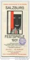 Salzburg Festspiele 1931 - Faltblatt Mit Spielplan - Mittwirkende - Eintrittspreise Etc. - Oesterreich