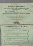 Conzieu (Crapéou) Par Belley (01 Ain) Catalogue Prix Courant  VIGNES HYBRIDES Pierre LANDOT 1935-36 - Advertising