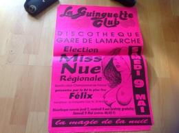 Affiche Discothèque Gare De Larmarche élection Miss Nue Régional La Guinguette Clubs - Afiches