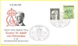 GERMANIA - GERMANY - Deutschland - ALLEMAGNE - 1972 - 25 Europa Cept + 5 - Special Cancel Staatsbesuch König Gustav VI. - Storia Postale
