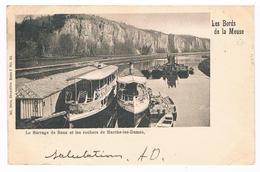 CPA Dos Non Divisé : NAMUR Le Barrage De Beez Et Les Rochers De Marche Les Dames - Bateaux Touristes Et Barques - Namur