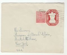 1951 INDIA Postal STATIONERY COVER Education Ministry To UN NY USA United Nations Stamps UPRATED - Covers