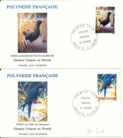 French Polynesia FDC 5-6-1990 BIRDS Complete Set Of 2 On 2 Covers With Cachet - FDC